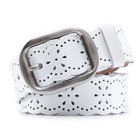 Ladie's White Leather Belt